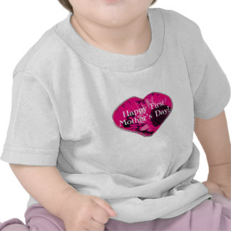 """Happy First Mother's Day"" - Pink Sunflowers/Heart Tshirt"