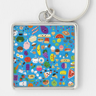 Happy Food Silver-Colored Square Key Ring