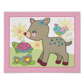 Happy Forest - Deer & Turtle Nursey/Baby Art Print