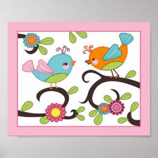 Happy Forest - Pink Birds Nursey/Baby Art Print