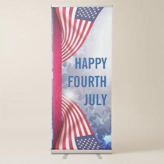 Happy Fourth July American flag starry background Retractable Banner