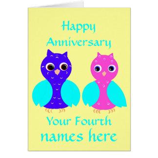 Happy Fourth Wedding Anniversary Owls Customize Card