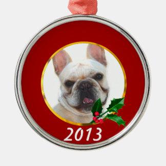 Happy French Bulldog dog Christmas Ornaments