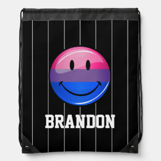 Happy Glossy Bisexuality Pride Flag Drawstring Bag