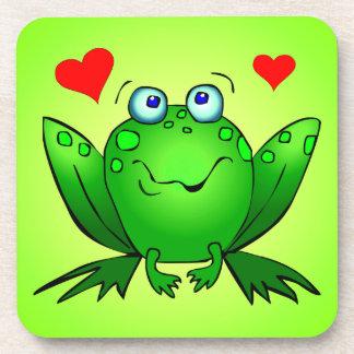 Happy Green Cartoon Frog Love Hearts Coaster