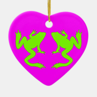 Happy Green Chartreuse Frogs Magenta Ornament