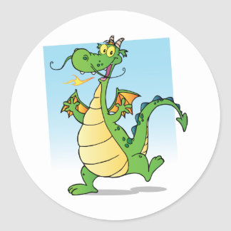 Happy Green Fire Breathing Dragon Dancing Classic Round Sticker