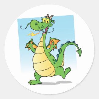 Happy Green Fire Breathing Dragon Dancing Round Sticker