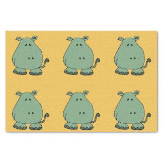 Happy Green Hippo Cartoon Tissue Paper