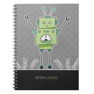Happy Green Robot & Metal Springs Spiral Note Books