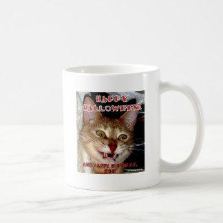HAPPY HALLOWEEN AND BIRTHDAY VAMPIRE CAT COFFEE MUG