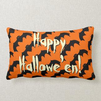 Happy Halloween Black Bat Pattern Orange Lumbar Cushion