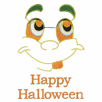 Happy Halloween cute ghost face embroidery t-shirt