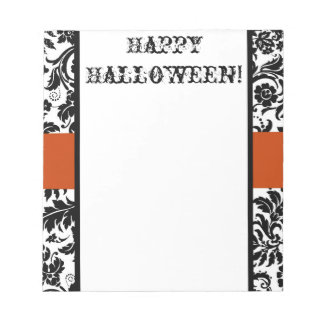 Happy Halloween damask and orange note pad