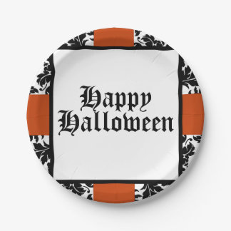Happy Halloween damask & orange paper plate 7 Inch Paper Plate