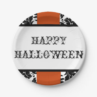 Happy Halloween damask & orange paper plate 7 Inch Paper Plate