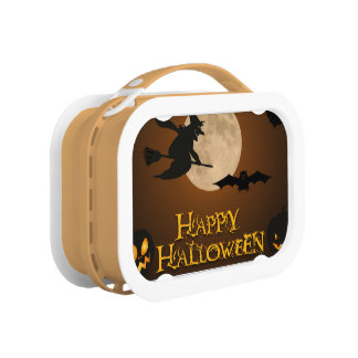 Happy Halloween; Full Moon and Witch Lunch Boxes