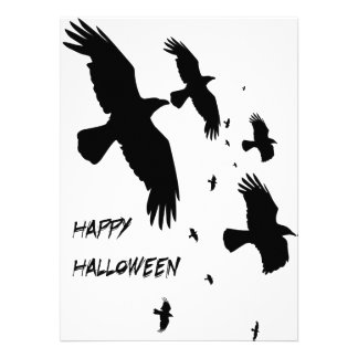 Happy Halloween Murder of Crows Invitations