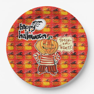 happy halloween pumpkin head boy cartoon 9 inch paper plate