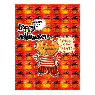 happy halloween tiled pumpkin and pumpkin head boy postcard