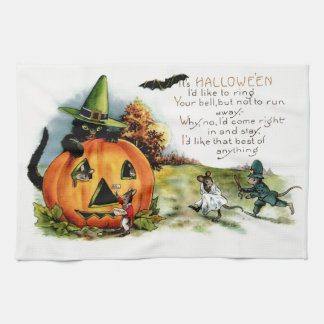 Happy Halloween Vintage Halloween Postcard Art Tea Towel