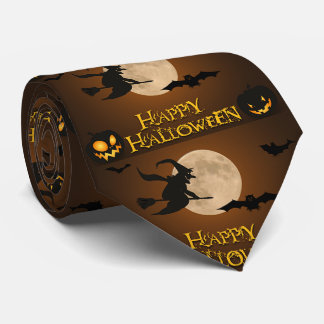 Happy Halloween Witch Full Moon and Bats Tie