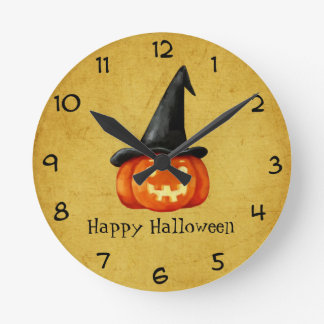 Happy Halloween Witch Pumpkin Clock
