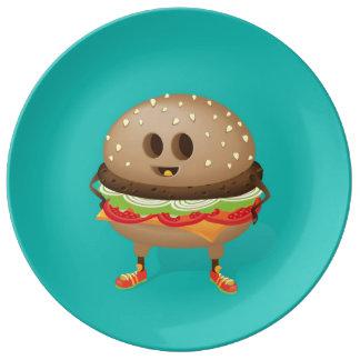 Happy Hamburger Porcelain Plate