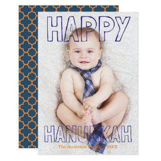 Happy Hanukkah Blue Block - 3x5 Hanukkah Card
