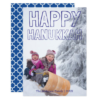 Happy Hanukkah Blue Block - Hanukkah Card