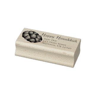 Happy Hanukkah Chanukah Challah Bread Loaf Address Rubber Stamp
