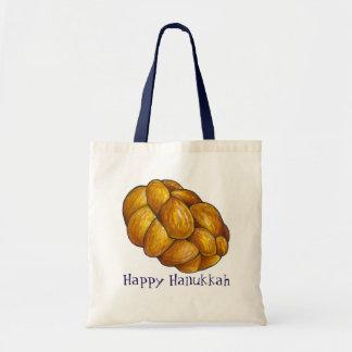 Happy Hanukkah Chanukah Challah Bread Tote