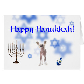 Happy Hanukkah Chinese Crested Card