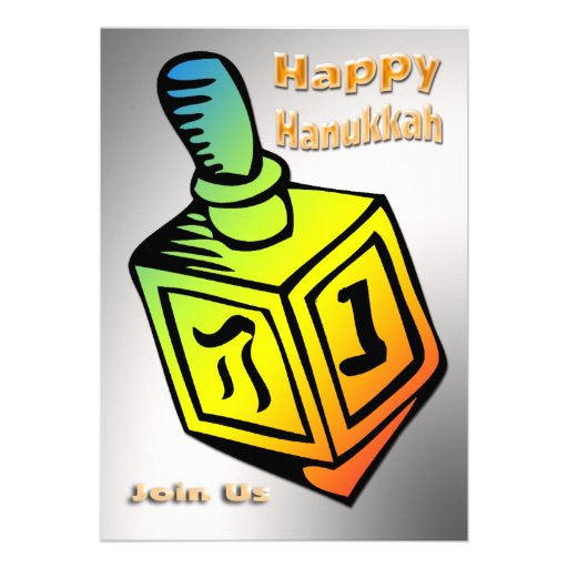 Happy Hanukkah - Dreidel Invitation