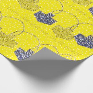 """Happy Hanukkah Dreidel Pinwheels"" Wrapping Paper"