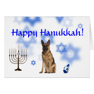 Happy Hanukkah German Shepherd Card
