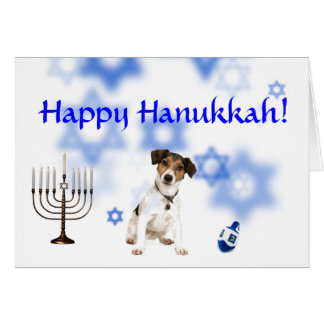 Happy Hanukkah jack russell terrier Card