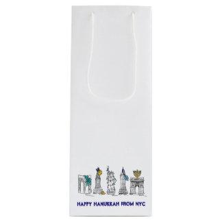Happy Hanukkah New York City NYC Chanukah Wine Bag