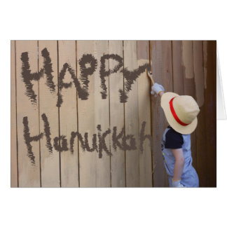 Happy Hanukkah Sunhat Boy Painting Fence Card