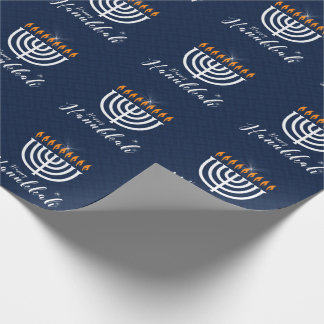Happy Hanukkah with White Menorah in Modern Blue Wrapping Paper