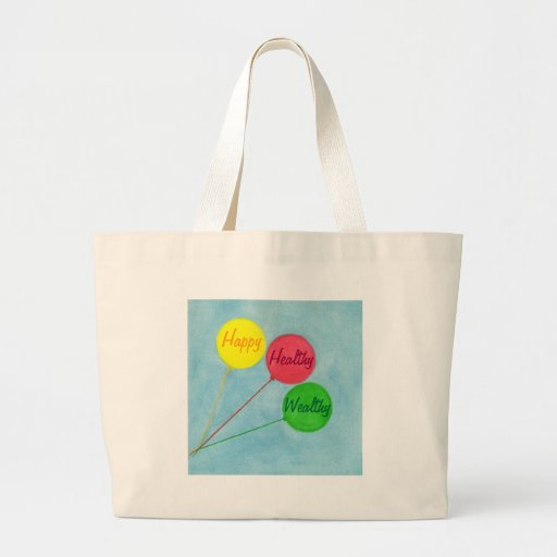 Happy Healthy Wealthy Balloon Affirmation Canvas Bags