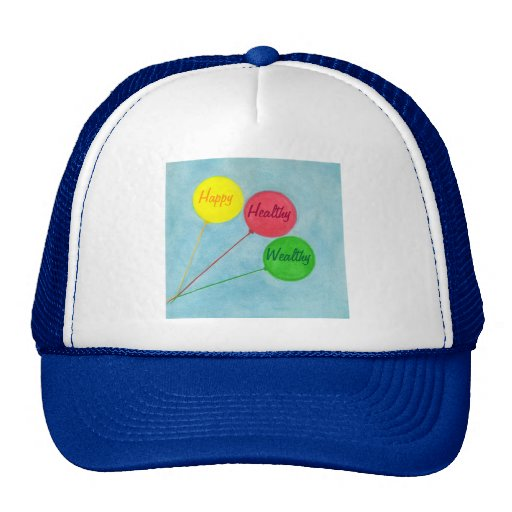 Happy Healthy Wealthy Balloon Affirmation Trucker Hat
