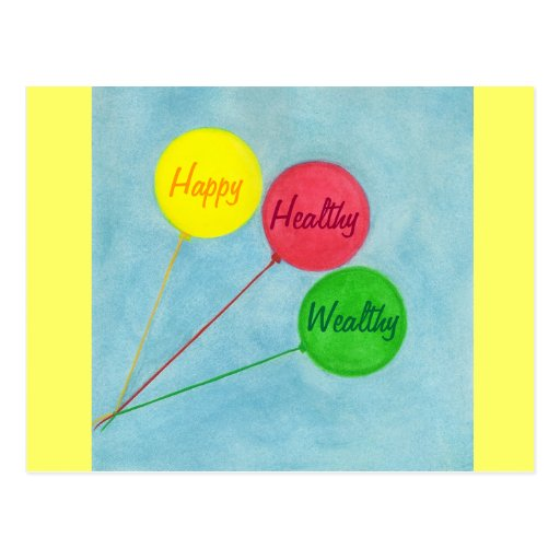 Happy Healthy Wealthy Balloon Affirmation Postcards