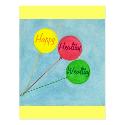 Happy Healthy Wealthy Balloon Affirmation Post Cards