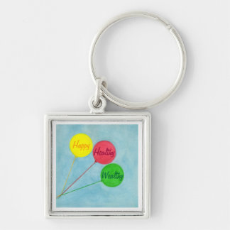 Happy Healthy Wealthy Balloon Affirmation Silver-Colored Square Key Ring