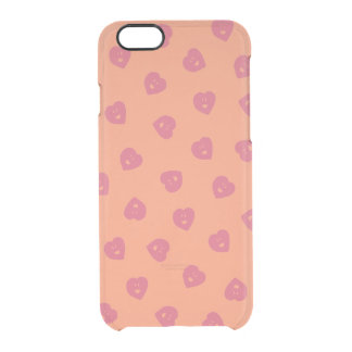 Happy Hearts clear iPhone case - Peach