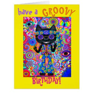Happy Hippie Cat Sunglasses Peace Sign Flower