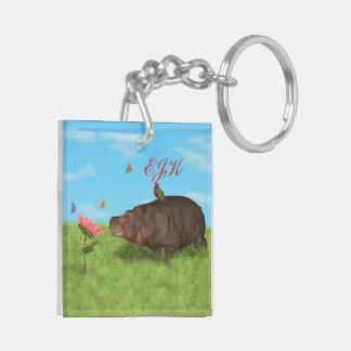 Happy Hippo, Flower, Butterflies, Monogram Key Ring