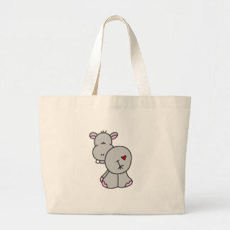 Happy Hippo Tshirts and Gifts Large Tote Bag