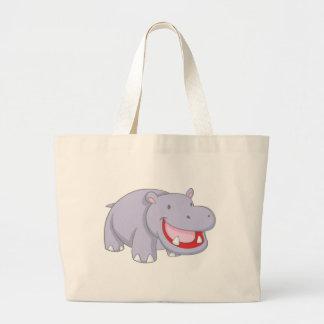 Happy Hippopotamus Large Tote Bag